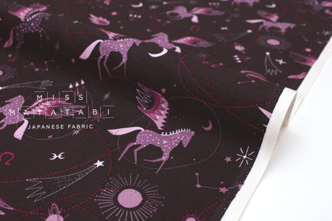 Japanese Fabric Cotton + Steel Mystical - Astro Pegasus - plum - 50cm