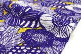 Japanese Fabric Seersucker Wild Floral - royal blue, yellow - 50cm