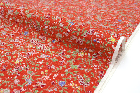 Japanese Fabric Seersucker Dainty Floral - red - 50cm
