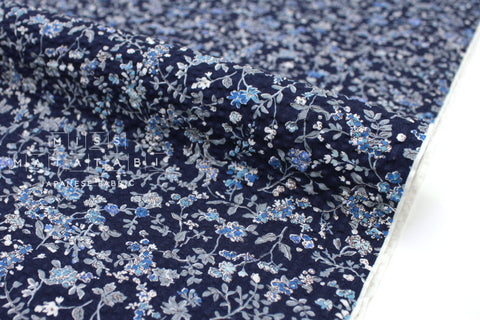 Japanese Fabric Seersucker Dainty Floral - navy blue - 50cm
