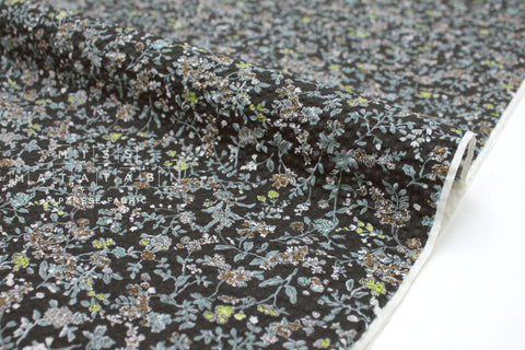 Japanese Fabric Seersucker Dainty Floral - black - 50cm