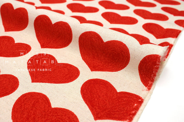 Japanese Fabric Love Hearts - red - 50cm
