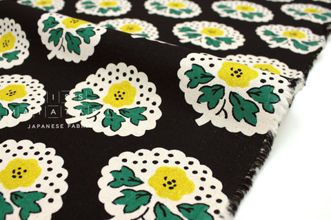Japanese Fabric Flower Stamps - black, yellow, green - 50cm