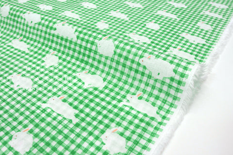 Japanese Fabric Kotorinuno Usa Gingham - bright green - 50cm