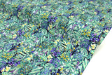 Japanese Fabric Dense Floral cotton lawn - green, iris - 50cm