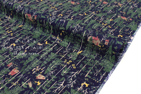 Japanese Fabric Forest Home cotton lawn - dark navy blue - 50cm