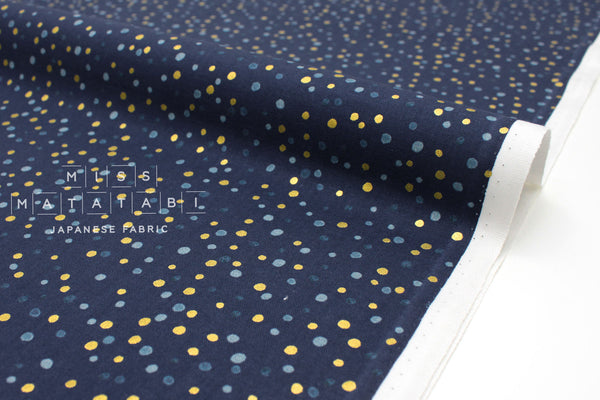 Japanese Fabric Cotton + Steel Chill Out - Pow Pow - navy metallic - 50cm