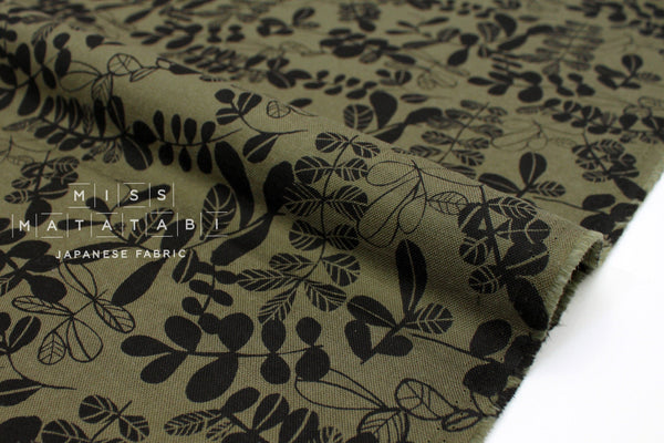 Japanese Fabric Double Gauze Leafy - olive, black  - 50cm