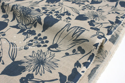 Japanese Fabric 100% Linen Spring - sea blue -  50cm