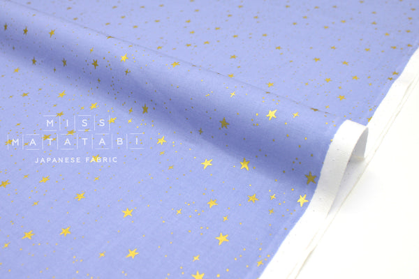 Cotton + Steel Primavera - stars periwinkle metallic gold - 50cm