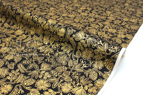 Cotton + Steel Primavera - moxie floral black metallic gold - 50cm