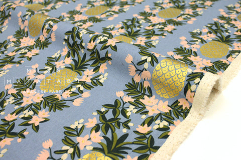 Cotton + Steel Primavera canvas - pineapple stripe periwinkle metallic gold - fat quarter