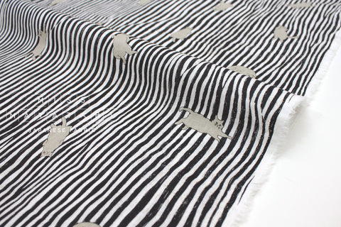 Japanese Fabric Kotorinuno Neko Stripes - black - 50cm