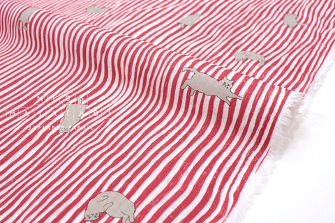 Japanese Fabric Kotorinuno Neko Stripes - red - 50cm