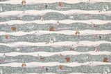 Japanese Fabric Kokka Peaceful Fields - green, grey, mauve - 50cm