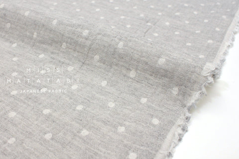Japanese Fabric Kokka Double gauze - reversible dots grey -  50cm