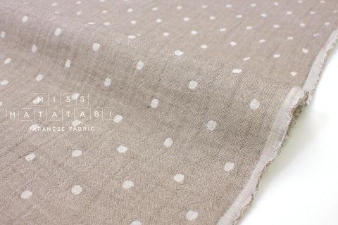 Japanese Fabric Kokka Double gauze - reversible dots milk coffee -  50cm