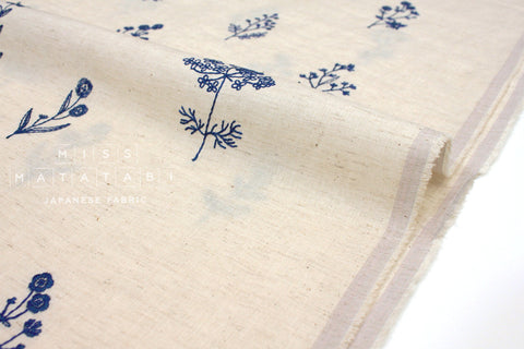 Japanese Fabric Kokka Embroidered Floral - cream, blue - 50cm
