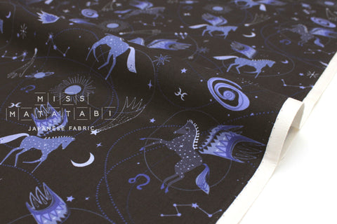 Japanese Fabric Cotton + Steel Mystical - Astro Pegasus - midnight blue - fat quarter