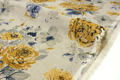 Japanese Fabric 100% linen Painterly Floral - mustard, blue -  50cm