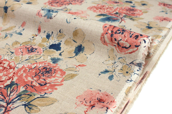 Japanese Fabric 100% linen Painterly Floral - coral peach, blue -  50cm