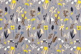 Japanese Fabric Bluebell - grey, yellow, blue - 50cm