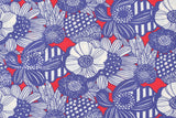Japanese Fabric Seersucker Wild Floral - blue, red - 50cm