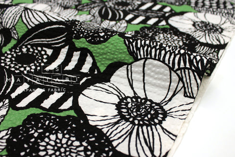 Japanese Fabric Seersucker Wild Floral - black, green - 50cm