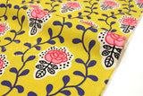 Japanese Fabric Vine and Floral Tiles - mustard - 50cm