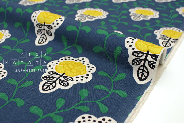 Japanese Fabric Vine and Floral Tiles - blue - 50cm