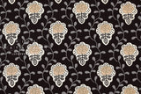 Japanese Fabric Vine and Floral Tiles - black - 50cm