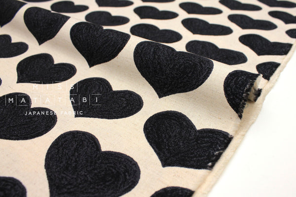 Japanese Fabric Love Hearts - black - 50cm