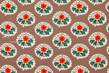 Japanese Fabric Flower Stamps - taupe, red, green - 50cm