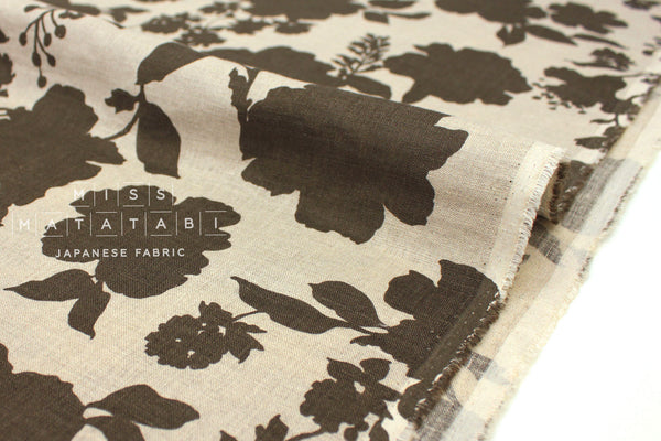Japanese Fabric 100% linen Shadow Floral - dark olive -  50cm