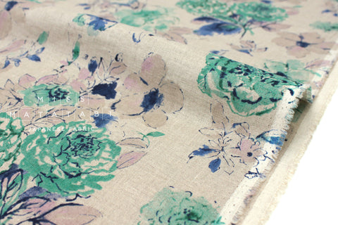 Japanese Fabric 100% linen Painterly Floral - deep mint, blue -  50cm