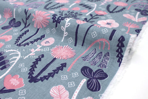 Japanese Fabric Wildflower - pink, grey - 50cm