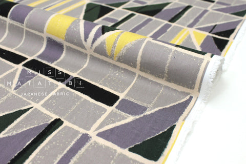Japanese Fabric Windows Brushed Rayon Twill - grey, forest green, yellow - 50cm