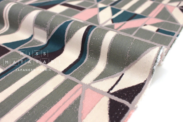 Japanese Fabric Windows Brushed Rayon Twill - teal, pink, green - 50cm