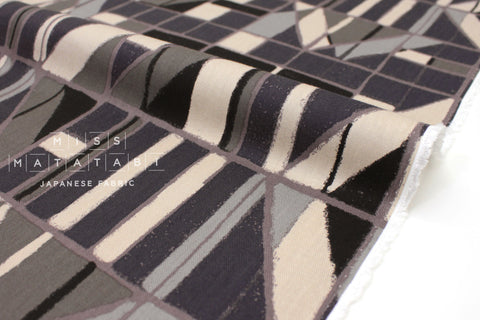 Japanese Fabric Windows Brushed Rayon Twill - black, grey, green - 50cm