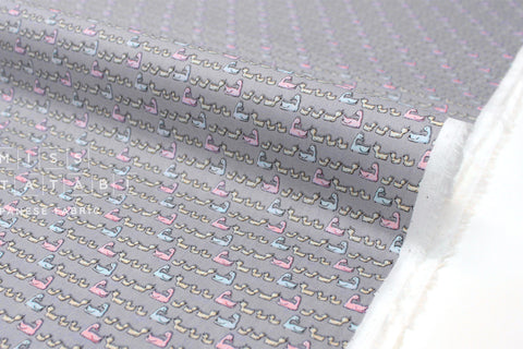 Japanese Fabric Ducks cotton lawn - grey, blue, pink - 50cm