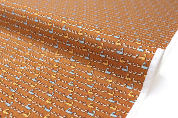 Japanese Fabric Ducks cotton lawn - burnt orange - 50cm