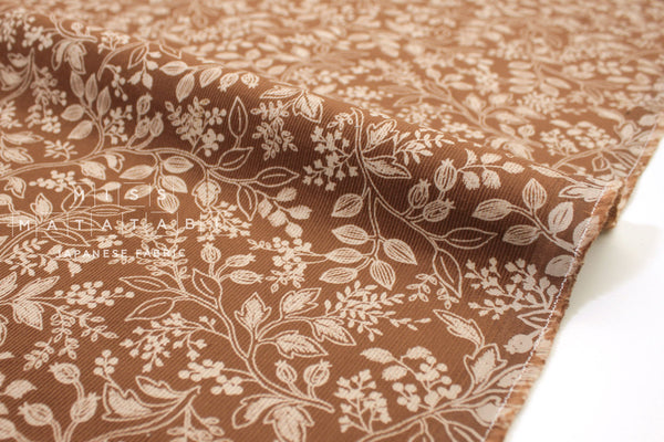 Japanese Fabric Corduroy Vines - terracotta - 50cm