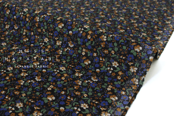 Japanese Fabric Corduroy Dainty Floral - black, blue, green - 50cm