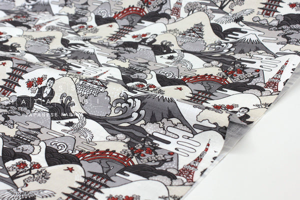 Japanese Fabric Postcards from Japan Dobby - grey, cream - 50cm