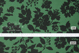 Japanese Fabric Corduroy Shadow Floral - green - 50cm