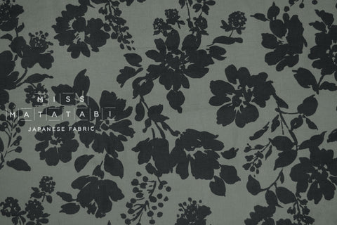 Japanese Fabric Corduroy Shadow Floral - green grey - 50cm