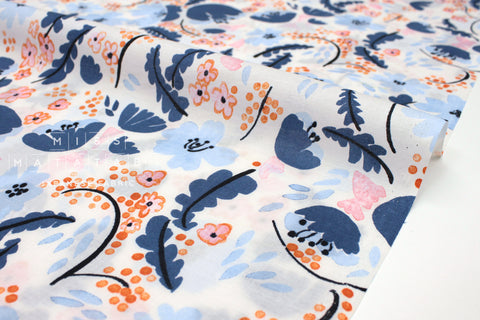 Japanese Fabric Cheery Floral cotton lawn - blue, peach - 50cm