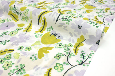 Japanese Fabric Cheery Floral cotton lawn - chartreuse, grey - 50cm