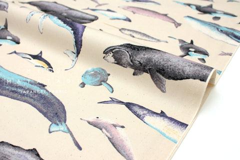 Japanese Fabric Marine Mammals Twill - cream -  50cm