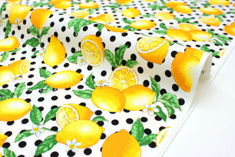 Japanese Fabric Lemon Dots - cream, yellow, green - 50cm